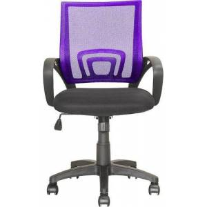 CorLiving - Workspace 5-Pointed Star Mesh Linen Fabric Chair - Black/Purple