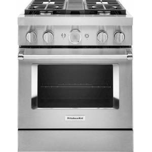 KitchenAid - 4.1 Cu. Ft. Freestanding Dual Fuel True Convection Range with Self-Cleaning - Stainless steel