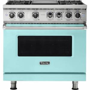 Viking - Professional 5 Series 5.6 Cu. Ft. Freestanding Dual Fuel True Convection Range with Self-Cleaning - Bywater Blue