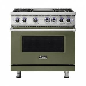 Viking - Professional 7 Series 5.6 Cu. Ft. Freestanding Dual Fuel True Convection Range with Self-Cleaning - Cypress Green