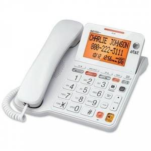 AT&T Phone Answering System With Large Display, Corded, White