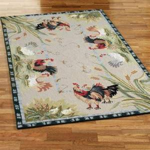 "Safavieh Carpets ""Rooster and Hens Rectangle Rug, 7'9"""" x 9'9"""", Ivory"""
