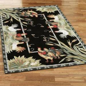 """Safavieh Carpets """"Rooster and Hens Rectangle Rug, 5'3"""""""" x 8'3"""""""", Black"""""""