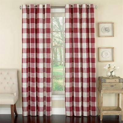Lorraine Home Fashions Checkerboard Grommet Curtain Panel, 53 x 63, Navy