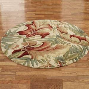 """Kas Oriental Rugs Inc """"Paradise Foliage Round Rug Ivory, 7'6"""""""" Round, Ivory"""""""