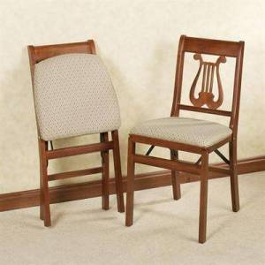 Meco Corporation Lyre Folding Chairs Cherry Set of Two, Set of Two, Cherry