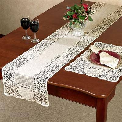 Heritage Lace/Oxford House Canterbury Classic Lace Large Table Runner 14 x 72, 14 x 72, Ecru