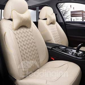 5 Seats Custom Fit Seat Cover Environmentally Friendly Healthy Flax Materials Wear Resistance Scraping Resistance No Peculiar Smell Most Models Are Customizable