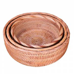 Multi-Purpose Round Wicker Rattan Storage Basket