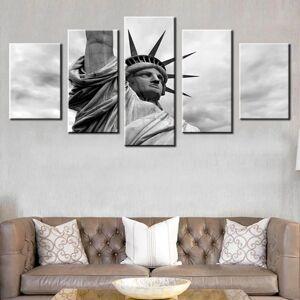 5-Piece Black & White Statue Of Liberty Canvas Wall Art