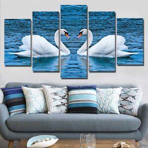 5-Piece Blue Lake Swan Love Canvas Wall Art