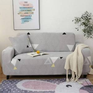 Light Gray Geometric Triangle Pattern Sofa Couch Cover