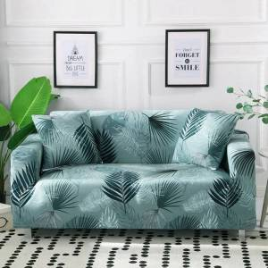 Palm Mint Green Palm Leaf Pattern Sofa Couch Cover