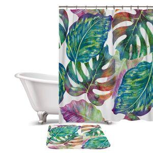 Palm Multi-Color Tropical Palm Leaf Shower Curtain / Bath Mat