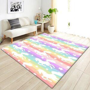 Multi-Color Rainbow Unicorn Stripe Area Rug Floor Mat