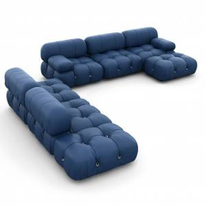 1 Mario Bellini Camaleonda Sofa / Combination 007 - Aniline Leather-Twilight Blue