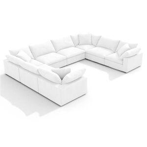 1 EM Cloud Sofa / Combination 103 - Textured Linen Weave-White