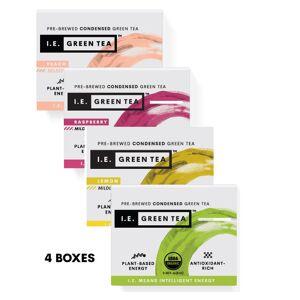 Amica Tea LLC Caffeinated 4 Box Variety Bundle - Green, Peach, Lemon, & Raspberry(8 servings per box)