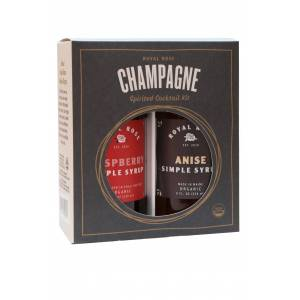 Royal Rose Syrups Champagne Cocktail Kit w/ Anise and Raspberry Organic Simple Syrups