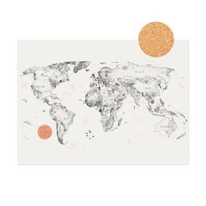 World Map on Cork + Push Pins