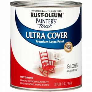 Rust-oleum 1966502 Painter's Touch Acrylic Latex Paint, Apple Red, 1-quart