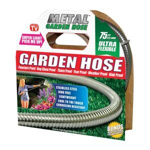 "Metal Garden Hose 54390 As Seen On Tv Garden Hose, Stainless Steel, Silver, 5/8"" X 75'"