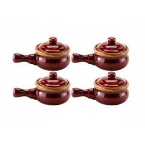 Hic 43400 French Onion-soup Crock With Lid, Ceramic, Set Of 4