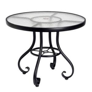 """Woodard Ramsgate Aluminum 48"""" Round Dining Table with Optional Tops"""