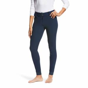 Ariat Women's Tri Factor Grip Knee Patch Breech Riding Pants in Navy Blue, Size 32 Long by Ariat
