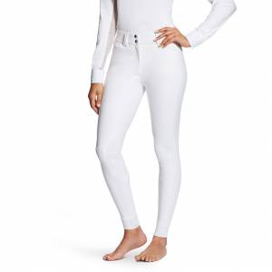 Ariat Women's Tri Factor Grip Knee Patch Breech Riding Pants in White, Size 24 Long by Ariat