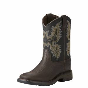 Ariat Kid's WorkHog Wide Square Toe Boots in Bruin Brown Leather, 1 K B / Medium by Ariat