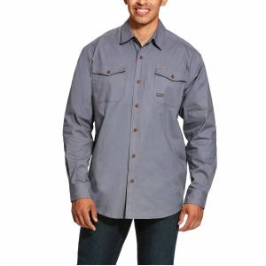 Ariat Men's Long Sleeve Rebar Made Tough DuraStretch Work Shirt in Steel Cotton, X-Large Tall by Ariat