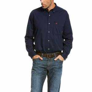 Ariat Men's Long Sleeve Flame-Resistant AC Work Shirt in Navy Blue Cotton, 2X-Large by Ariat