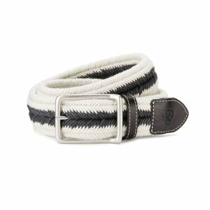 Ariat Three Rail Woven Belt in Black/Cream Cotton, X-Small/Small by Ariat