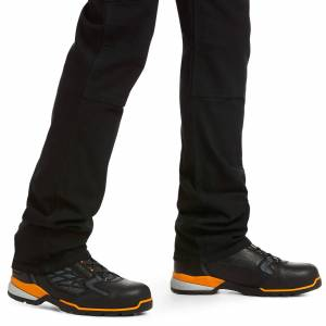 """Ariat Men's Rebar M4 Low Rise DuraStretch Made Tough Double Front Stackable Straight Leg Pants in Black Cotton, 30 X 34 34"""" by Ariat"""