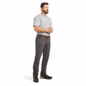 """Ariat Men's Rebar M4 Low Rise DuraStretch Made Tough Double Front Stackable Straight Leg Pants in Grey Cotton, 36 X 30 30"""" by Ariat"""