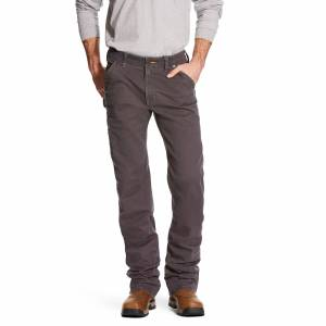 "Ariat Men's Rebar M4 Low Rise DuraStretch Washed Twill Dungaree Boot Cut Pants in Grey Cotton Twill, 44 X 36 36"" by Ariat"