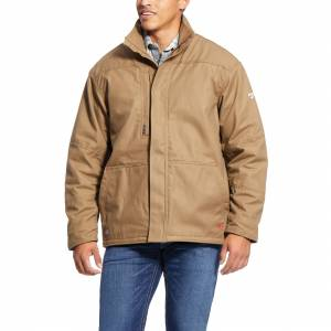 Ariat Men's Long Sleeve Flame-Resistant Workhorse Insulated Jacket Fleece in Field Khaki Cotton, 2X-Large by Ariat