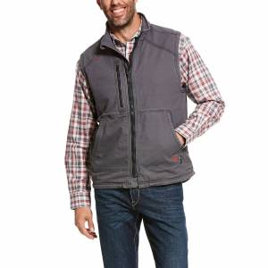 Ariat Men's Flame-Resistant DuraLight Stretch Canvas Vest in Iron Gray Cotton, 3X-Large by Ariat