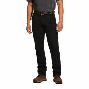 """Ariat Men's Rebar M4 Low Rise DuraStretch Made Tough Double Front Stackable Straight Leg Pants in Black Cotton, 31 X 34 34"""" by Ariat"""