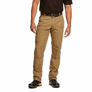 """Ariat Men's Rebar M4 Low Rise DuraStretch Made Tough Double Front Stackable Straight Leg Pants in Field Khaki Cotton, 34 X 36 36"""" by Ariat"""