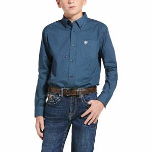 Ariat Kid's Long Sleeve Jennersville Classic Fit Shirt in Marine Blue Cotton, X-Large by Ariat