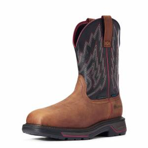 Ariat Men's Big Rig Waterproof Composite Toe Work Boots in Mesa Brown Leather, Size 10.5 EE / Wide by Ariat