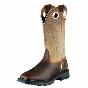 Ariat Men's WorkHog Wide Square Toe Tall Steel Toe Work Boots in Earth, Size 9.5 EE / Wide by Ariat