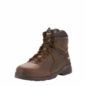 """Ariat Men's Rebar Flex Protect 6"""" Waterproof Carbon Toe Work Boots in Dark Brown Leather, Size 11 EE / Wide by Ariat"""