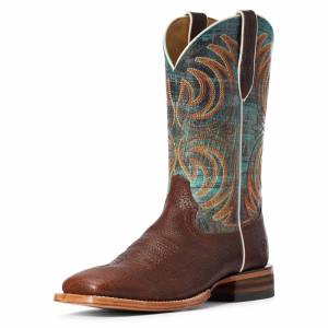 Ariat Men's Storm Western Boots in Bottle Brown Leather, Size 9 EE / Wide by Ariat