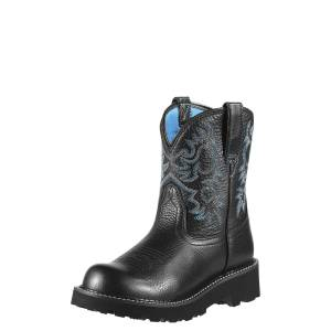 Ariat Women's Fatbaby Western Boots in Black Deertan Leather, Size 5.5 B / Medium by Ariat