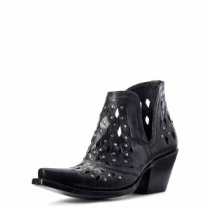 Ariat Women's Dixon Studded Western Boots in Black Leather, Size 7 B / Medium by Ariat