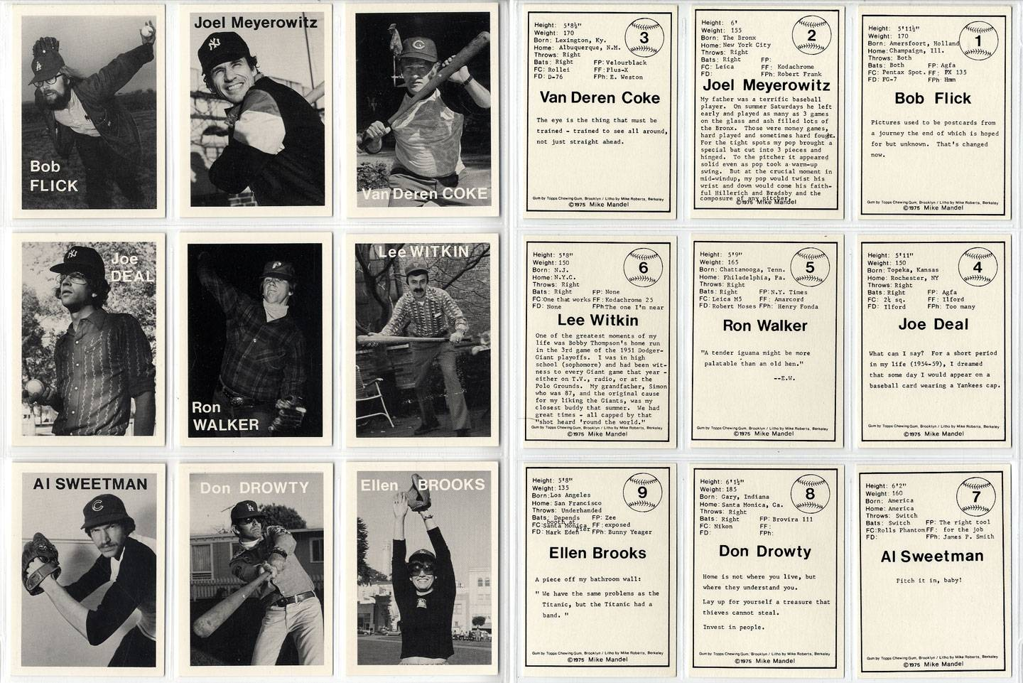 Mike Mandel: Untitled (Baseball-Photographer Trading Cards), Complete Set of 135 Cards (As New) MANDEL, Mike [As New]