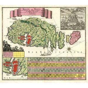 'Melite vulgo Malta cum vicinis Goza, quae olim Gaulos, et Comino insulis, uti exhibetur á Nic. de Fer, nunc aeri incisa per Matth. Seutter S.C.M. Ge
